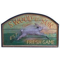 Primitive Wood Sign of Rabbit by S. Wood & Son