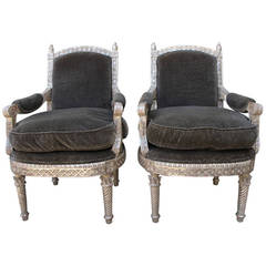 Pair of Carved Silver Leaf Armchairs