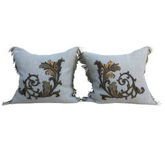 Metallic and Silk Appliqued Belgium Linen Pillows
