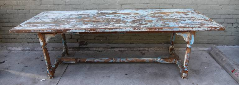 Primitive French Painted Harvest Table 2