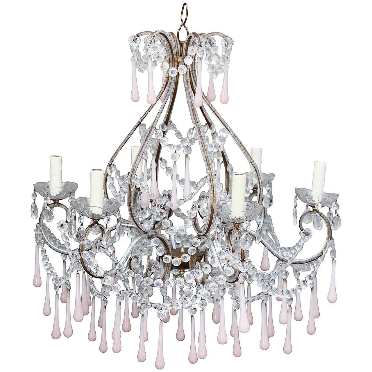Pink opaline crystal beaded chandelier at 1stdibs pink opaline crystal beaded chandelier for sale aloadofball Choice Image