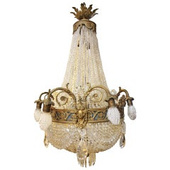 19th Century French Crystal and Bronze Chandelier