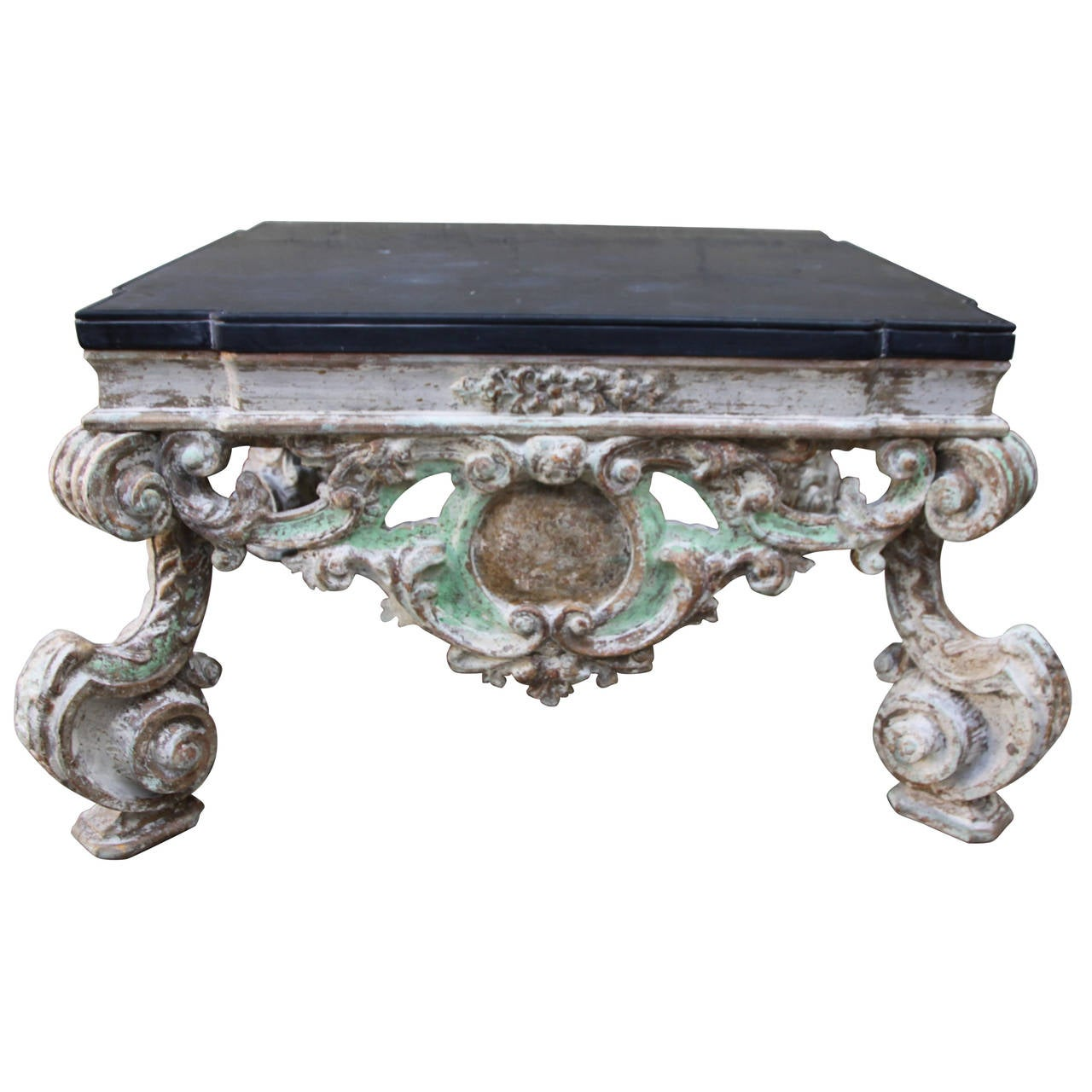Painted italian carved coffee table w stone top at 1stdibs Carved coffee table