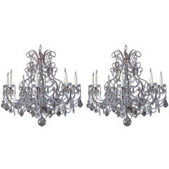 Pair of Elegant Italian Gilt Metal and Crystal Chandeliers