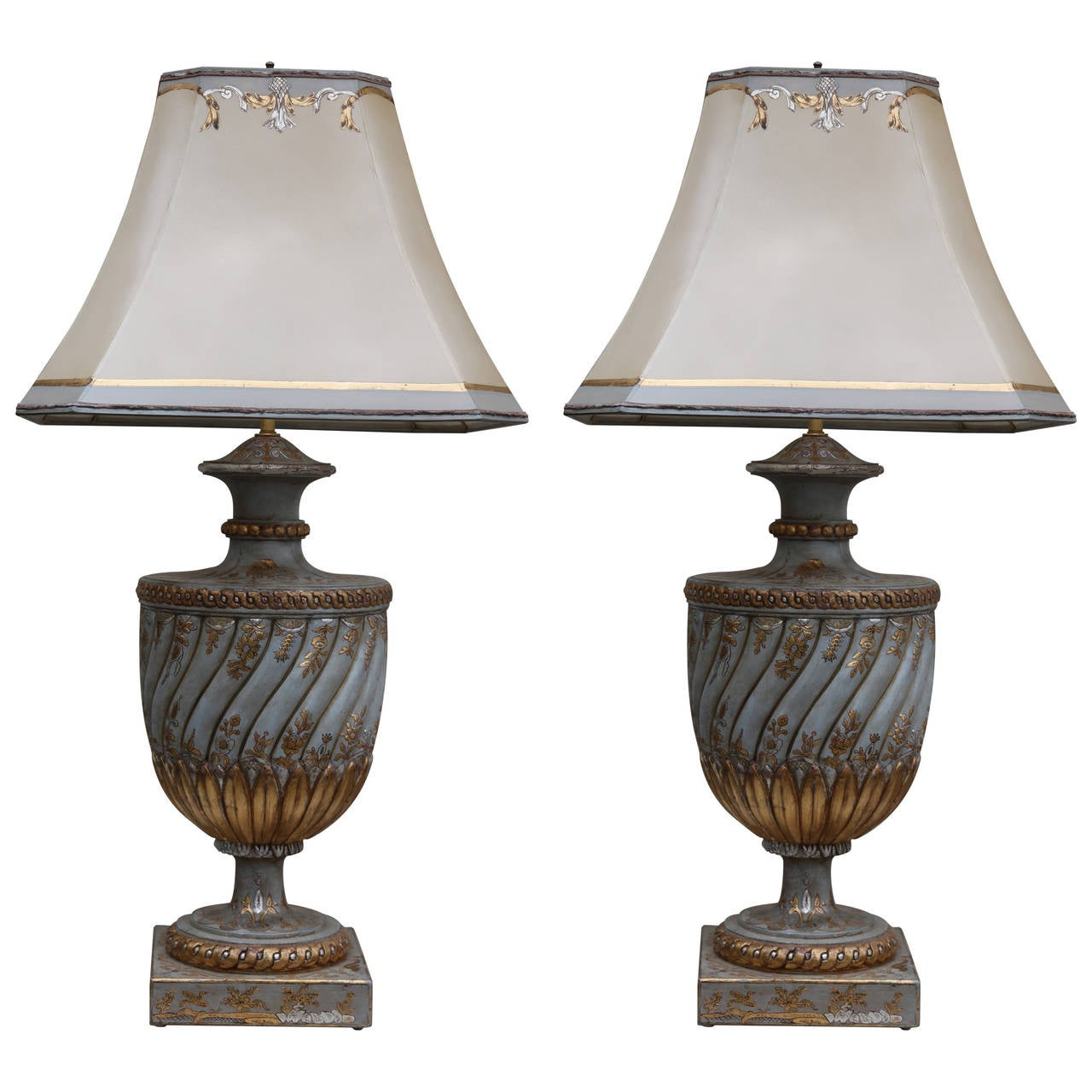 Pair Of Chinoiserie Painted Lamps With Custom Parchment