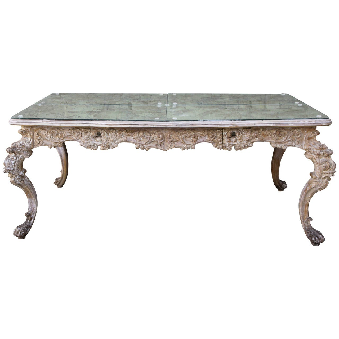 French Rococo Coffee Table: French Rococo Style Desk With Antiqued Mirrored Top At 1stdibs