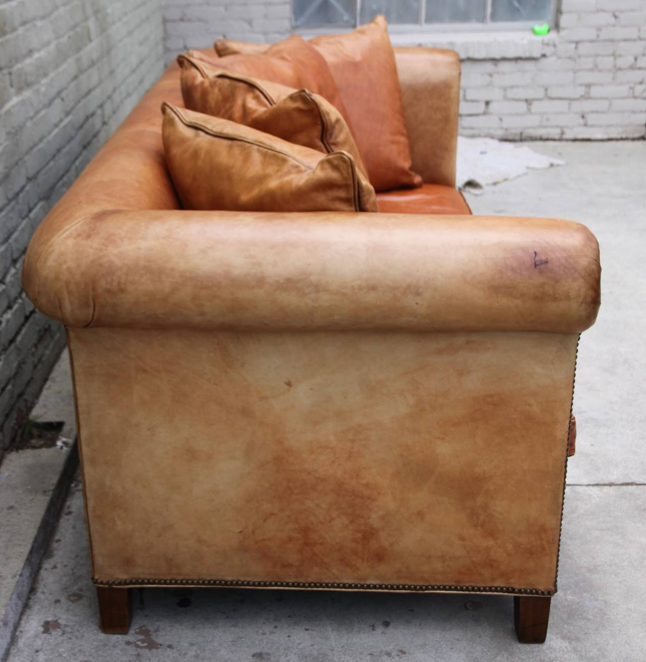 Unknown Ralph Lauren Leather  Upholstered Sofa w/ Four Pillows