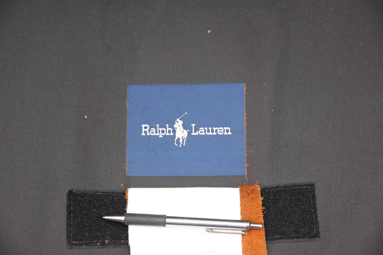 Ralph Lauren Leather  Upholstered Sofa w/ Four Pillows 3