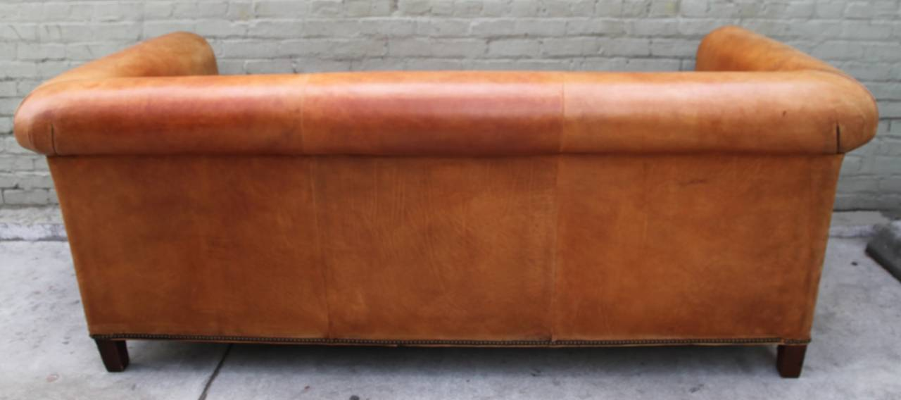 Ralph Lauren Leather  Upholstered Sofa w/ Four Pillows 2