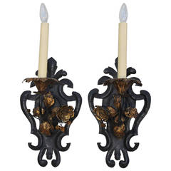 Wrought Iron Fleur-de-Lys Sconces with Gilt Flowers