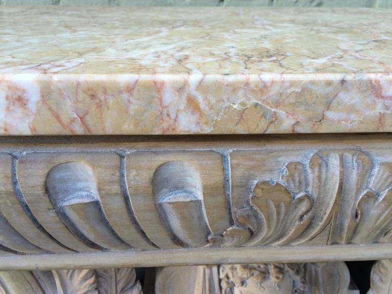 Engraved Limestone Inlay : Italian carved wood griffin console with marble top at stdibs