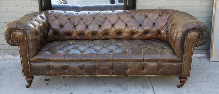 Leather Tufted Chesterfield Style Sofa At 1stdibs