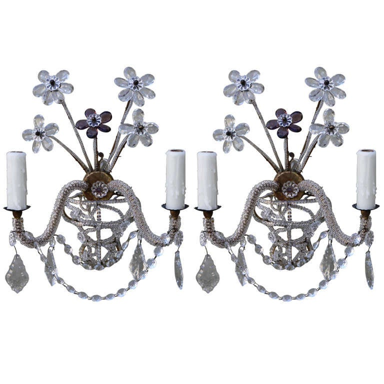 Beaded Crystal Wall Sconces : Pair of French Beaded Crystal Sconces at 1stdibs