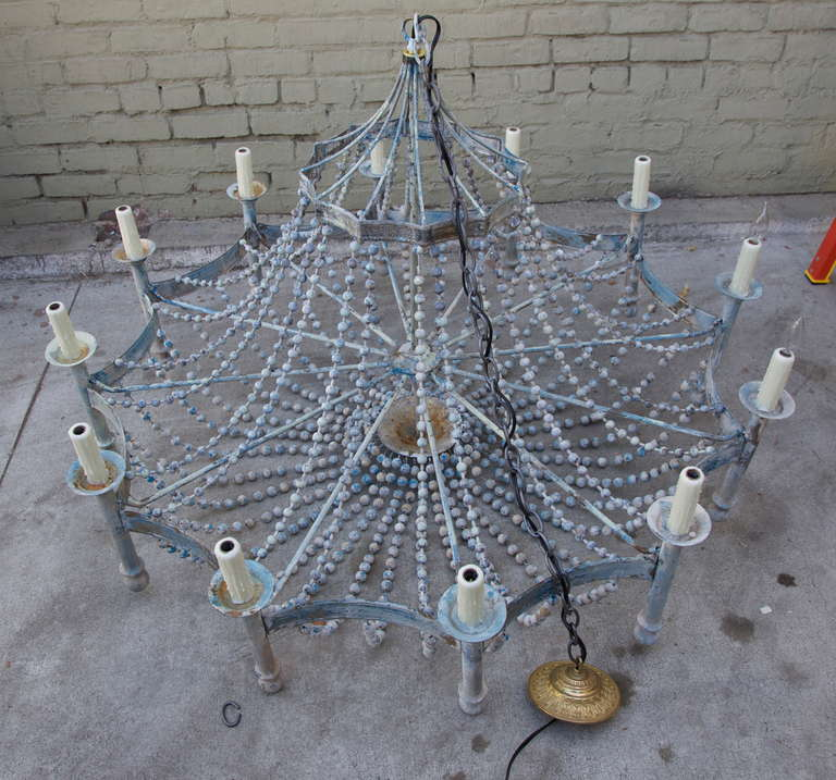 Italian Painted Wood Beaded Chandelier 6