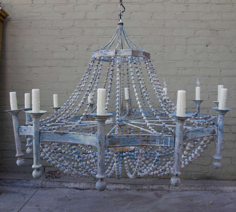 Italian Painted Wood Beaded Chandelier 2