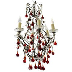Italian Red & Clear Crystal Chandelier