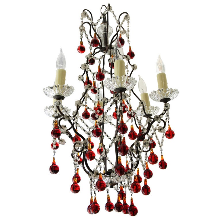 Italian Red & Clear 6-light Crystal Chandelier For Sale