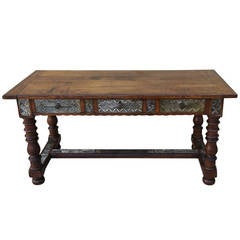 19th Century Spanish Table with Antique Mirror
