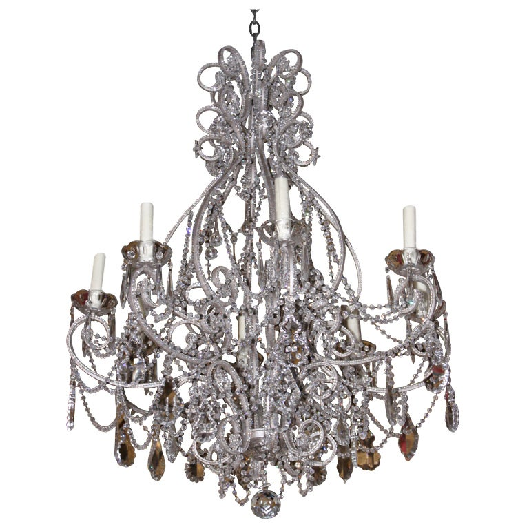 Monumental Silver Crystal Beaded Chandelier For Sale at