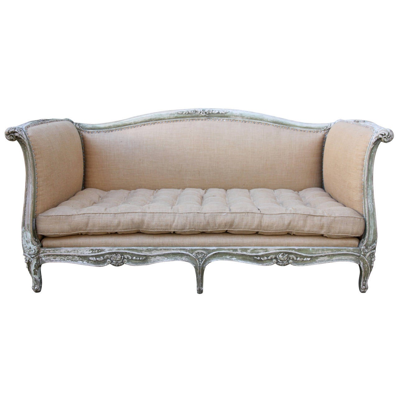 French carved painted louis xv style sofa at 1stdibs for French divan chair