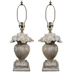 Pair of Carved Fruit Urn Lamps