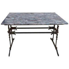 French Wrought Iron & Marble Bistro Table