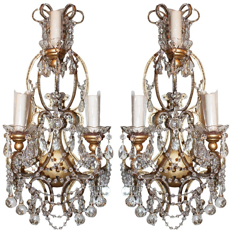 Beaded Crystal Wall Sconces : Pair of 3-light Crystal Beaded Sconces For Sale at 1stdibs