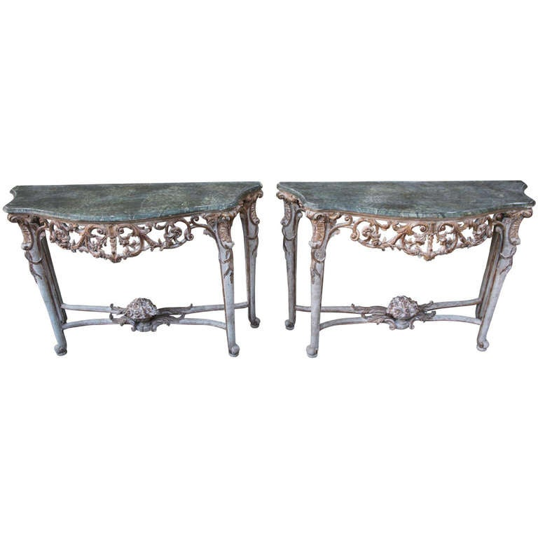 Pair of italian rococo painted consoles w faux marble for Table 52 naples