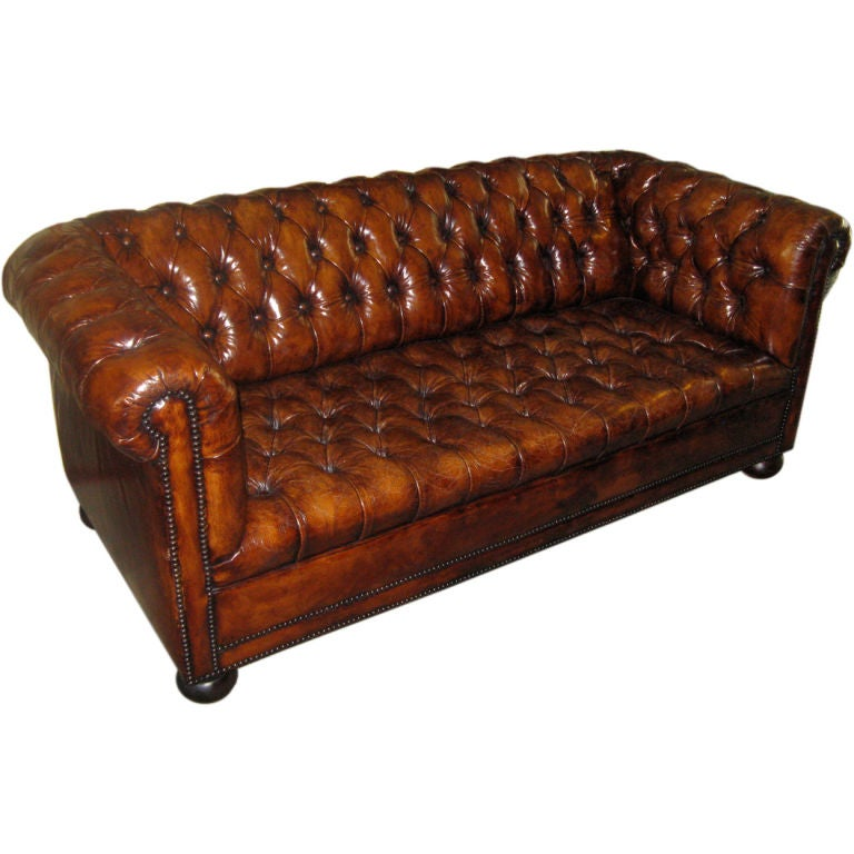 English leather tufted chesterfield sofa circa 1940 s at 1stdibs