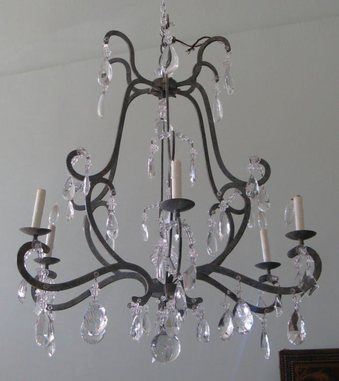 6 Light Wrought Iron And Crystal Chandelier At 1stdibs