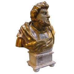 Gold & Silver Leaf Carved Bust on Painted Base circa 1920's