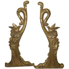 Pair of French Gold Gilt Wood Carvings circa 1900's