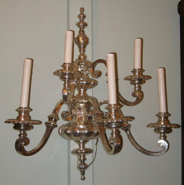 Pair of Silver Italian 5-light Sconces circa 1930 s at 1stdibs