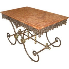 French Pastry Table with Marble Top