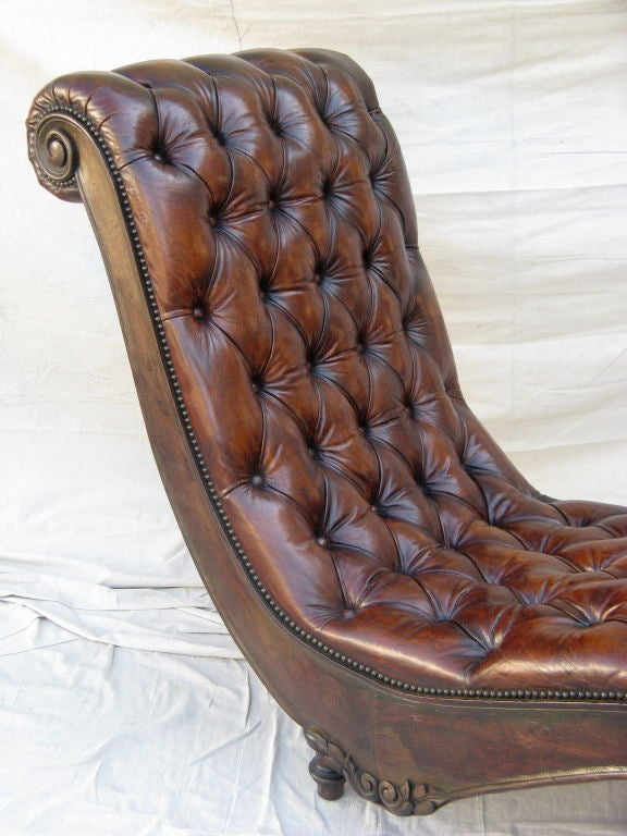 Unique leather tufted chaise c 1940 39 s at 1stdibs for Chaise 1940