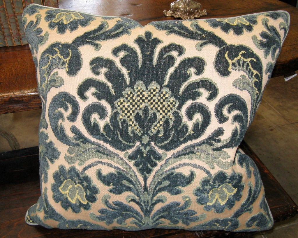 #101-Pair of Vintage Cut Velvet Pillows circa 1940's image 2