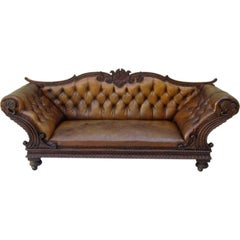 19th Century Carved Walnut Leather Tufted Sofa