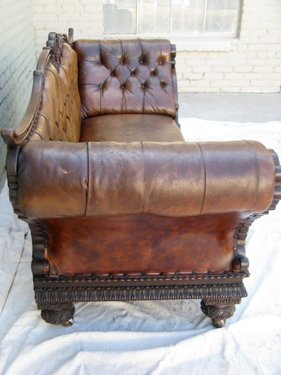 19th Century Carved Walnut Leather Tufted Sofa At 1stdibs