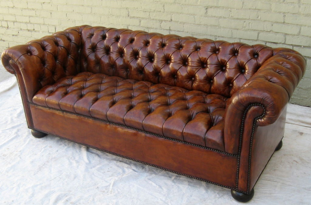 English Chesterfield Leather Tufted Sofa circa 1930 at 1stdibs
