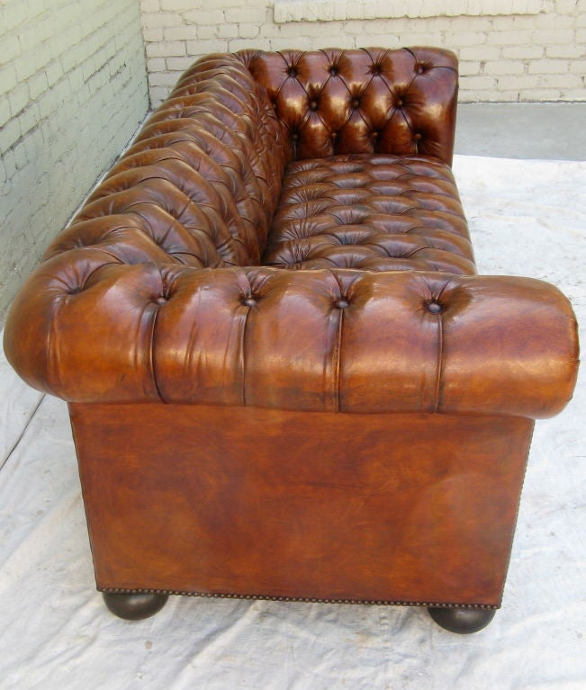 Mid 20th Century English Chesterfield Leather Tufted Sofa Circa 1930 For