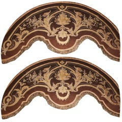 Pair of  Continental Leather Appliqued Valences