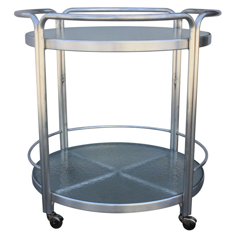 brown and polished aluminum patio bar cart at 1stdibs