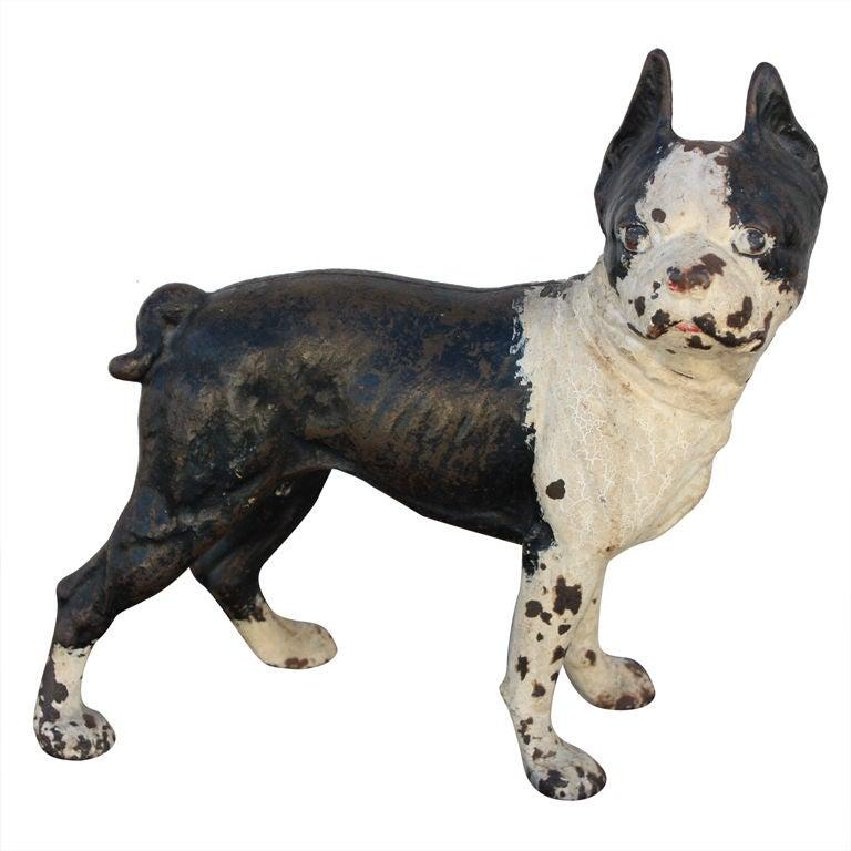Cast Iron Boston Terrier Or Bulldog Doorstop Figure At 1stdibs