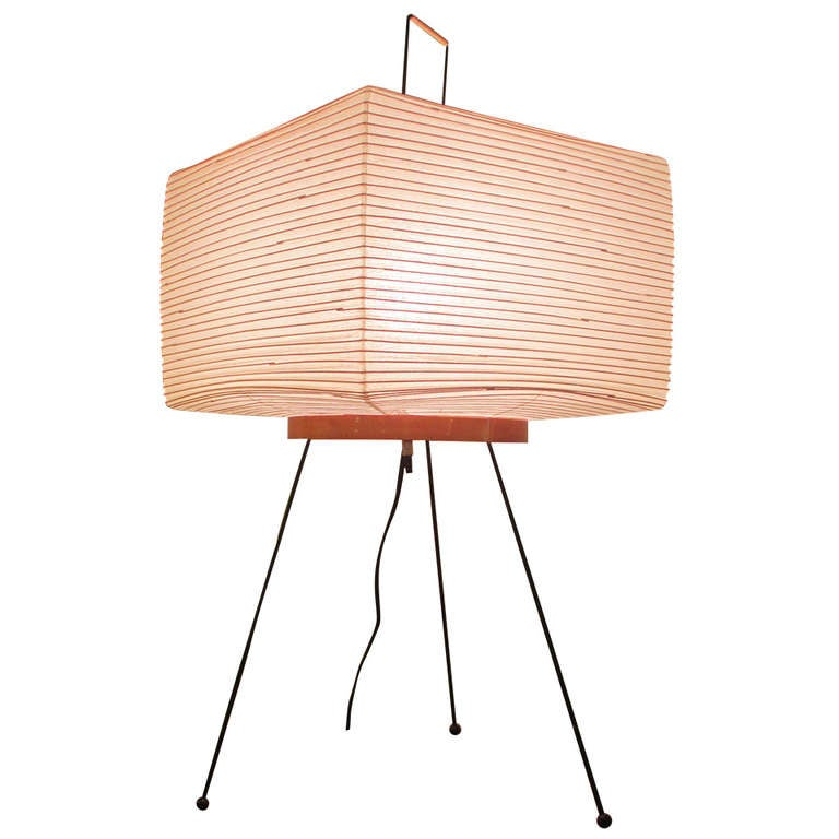 Isamu Noguchi Akari Lamp with Square Shade at 1stdibs