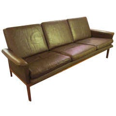 France and Son Teak Danish Brown Leather Sofa