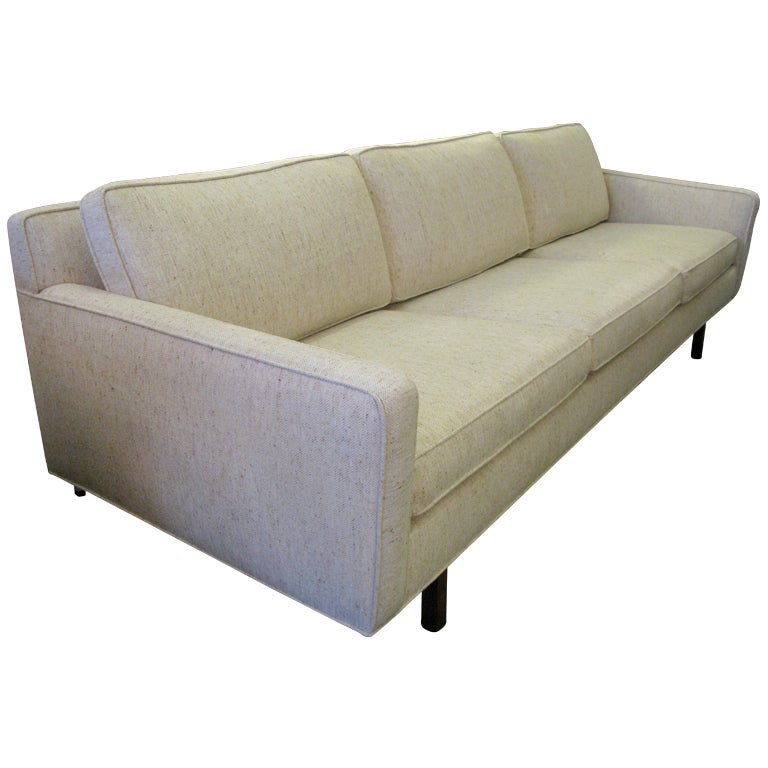 Mid Century Low Back Sofa With Brass Stretchers At 1stdibs