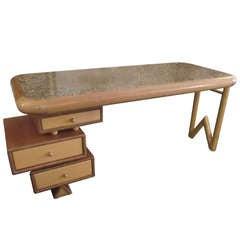 1990's Solid Maple/ Walnut  Desk with Granite insert