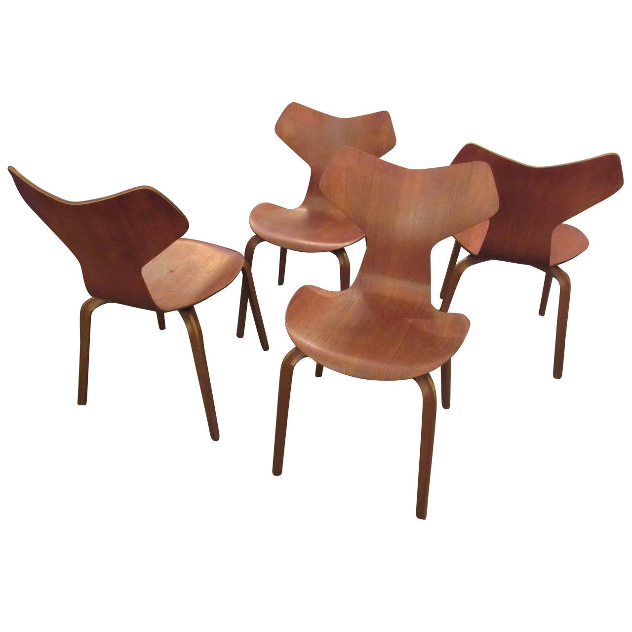 arne jacobsen 4130 stacking ant chairs with wood legs by fritz hansen at 1stdibs. Black Bedroom Furniture Sets. Home Design Ideas