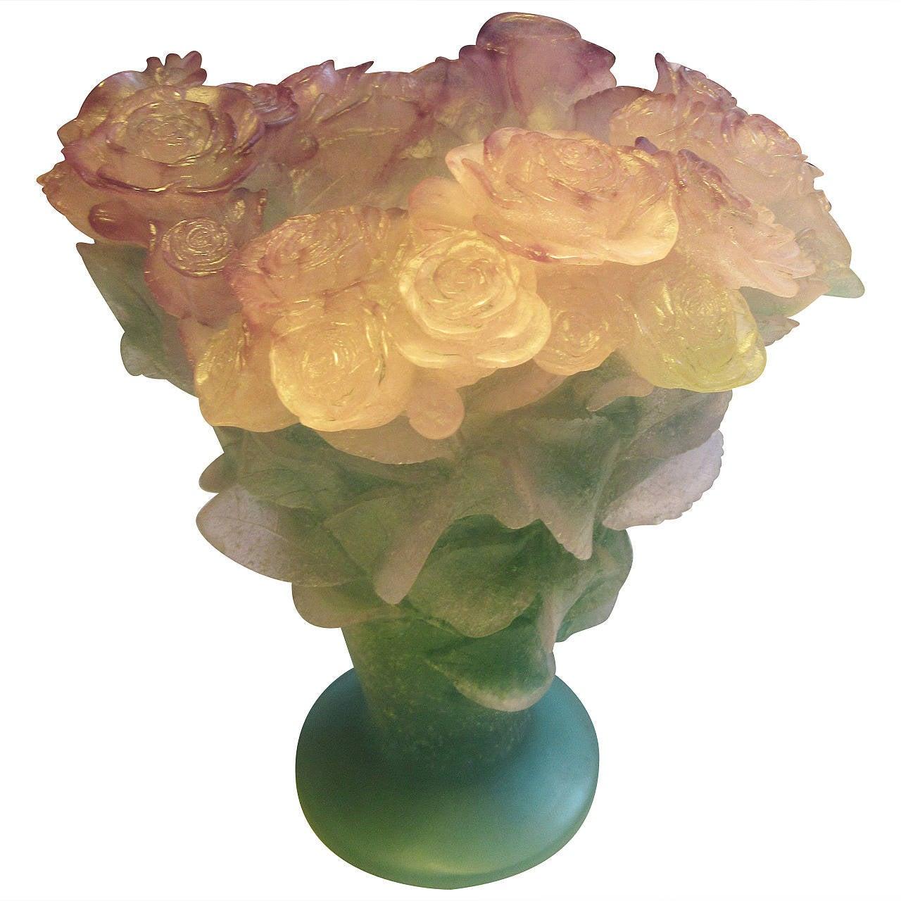 daum pate verre roses vase at 1stdibs. Black Bedroom Furniture Sets. Home Design Ideas