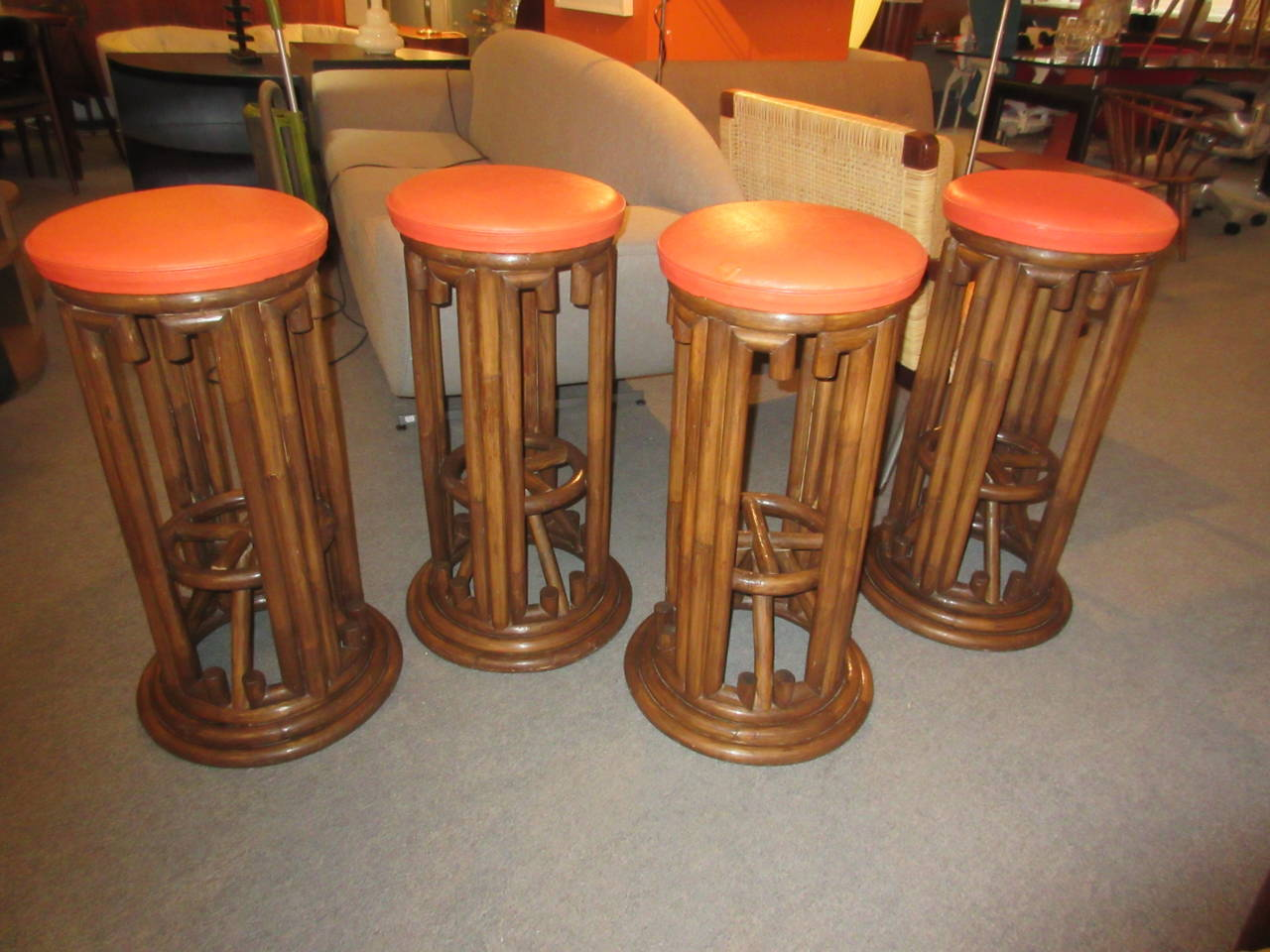 Bamboo Tiki Style Bar Stools Set Of Four At 1stdibs